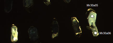 Zircon crystals extracted from ochre